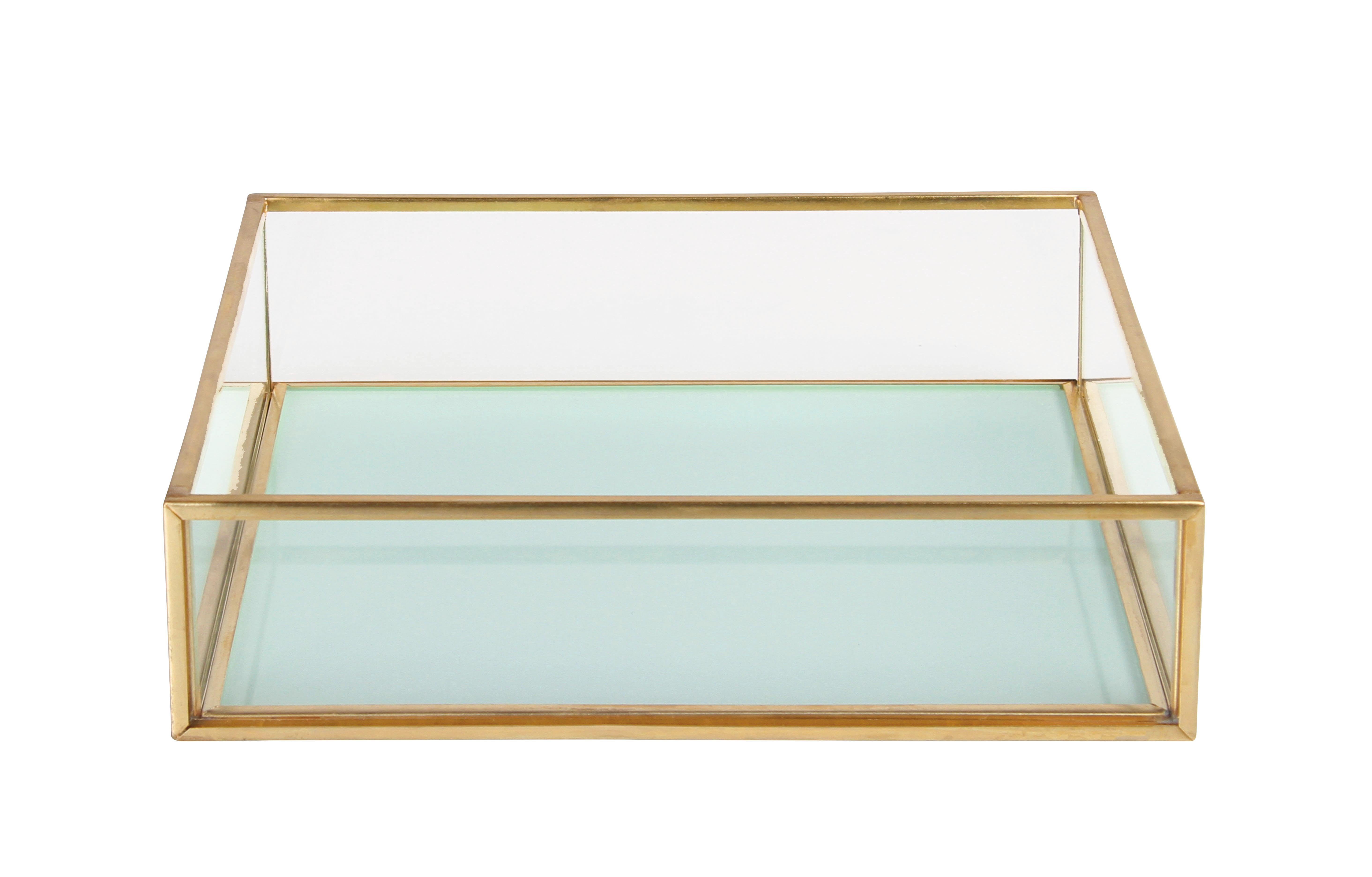 Déco - Boîtes déco - Coupelle / 16 x 16 cm - & klevering - Carré / Bleu ciel - Métal finition laiton, Verre