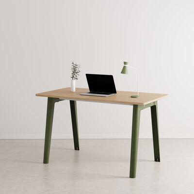 Furniture - Office Furniture - New Modern Desk - / 130 x 70 cm - Eco-certified oak by TIPTOE - Rosemary Green - Powder coated steel, Solid fir with oak veneer