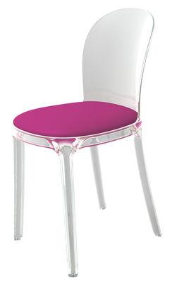 Möbel - Stühle  - Vanity Chair Gepolsterter Stuhl Gestell: transparent - Magis - Kristall / Kissen: Violettt - Gewebe, Polykarbonat