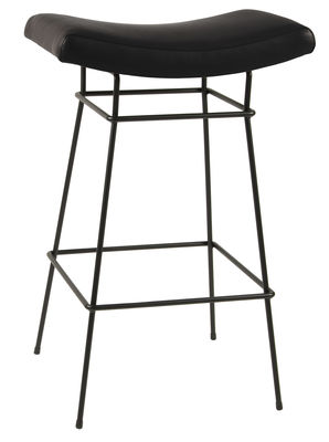 Furniture - Bar Stools - Bienal High stool - H 76 cm - Leather seat by Objekto - Black leather / Black leg - Foam, Full grain leather, Painted recycled steel