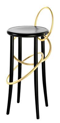Furniture - Bar Stools - Cirque High stool - / H 78 cm by Wiener GTV Design - Black & brass - Beechwood plywood, Brass, Curved solid beechwood