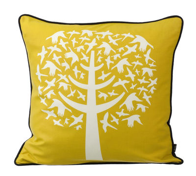 Dekoration - Kissen - Bird Leaves Kissen - Ferm Living - Weiß - gelb - Rückseite schwarz - Seide