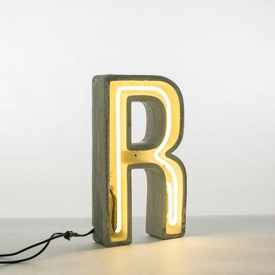 Lampe de table Néon Alphacrete / Lettre R - Intérieur / extérieur - Seletti blanc,gris en pierre
