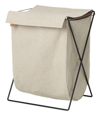 Accessories - Bathroom Accessories - Herman Laundry basket - Metal & fabric by Ferm Living - Beige, Black - Cotton, Epoxy lacquered steel