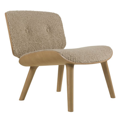 Möbel - Lounge Sessel - Nut lounge Lounge Sessel / Gepolstert - Moooi - Beige / Helles Holz - Eichenholzfurnier, Gewebe, massive Eiche, Schaumstoff