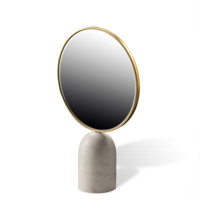 Déco - Miroirs - Miroir à poser Round / Marbre - Pols Potten - Blanc - Fer plaqué laiton, Marbre, Verre