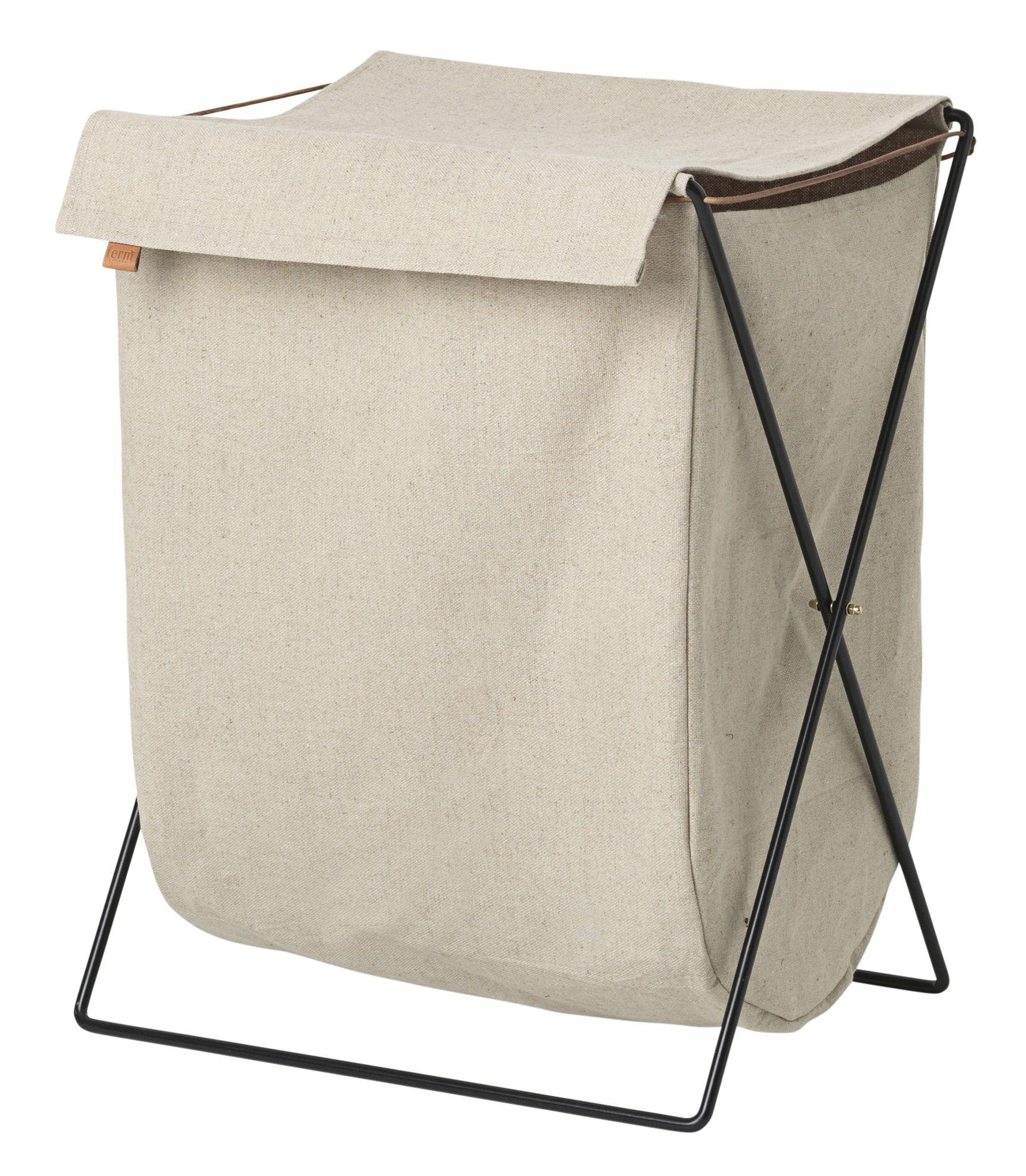 Accessoires - Accessoires salle de bains - Panier à linge Herman / Pliable - Métal & tissu - Ferm Living - Beige / Structure noire - Acier laqué époxy, Coton