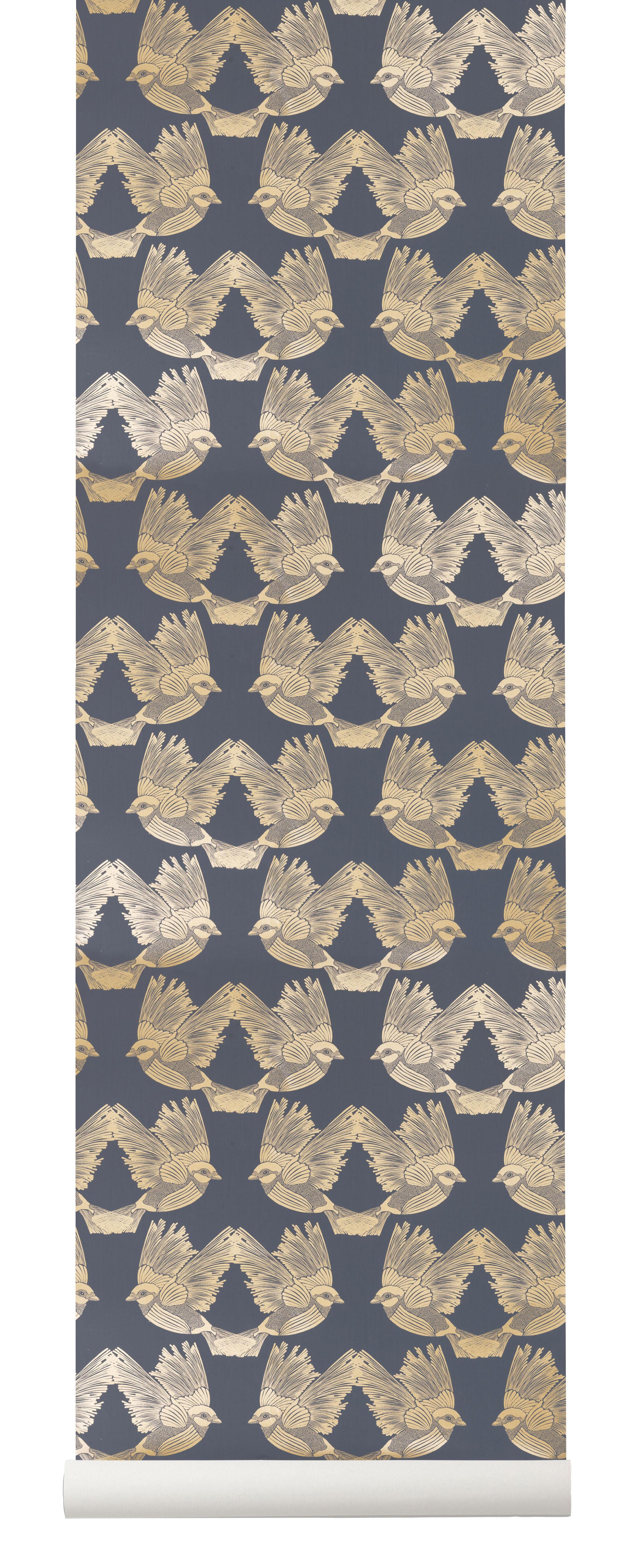 Déco - Stickers, papiers peints & posters - Papier peint Birds / 1 rouleau - Larg 53 cm - Ferm Living - Bleu foncé & or - Toile intissée