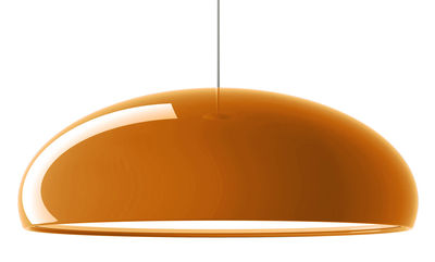 Lighting - Pendant Lighting - Pangen Pendant by Fontana Arte - Orange / White inside - Chromed metal, Lacquered aluminium, Polycarbonate