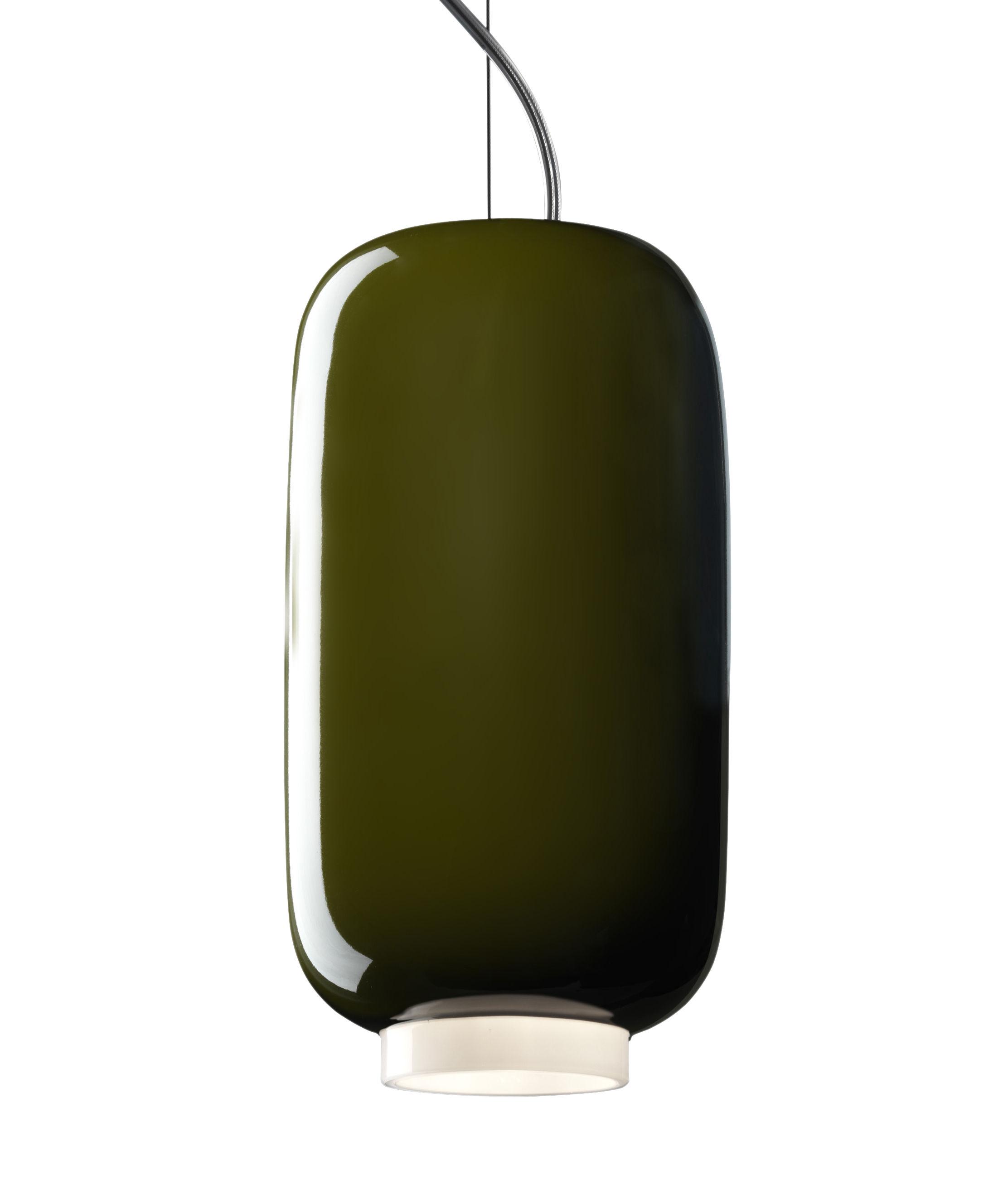 Leuchten - Pendelleuchten - Chouchin Mini n°2 Pendelleuchte / Ø 12 cm x H 24 cm - Foscarini - Grün - mundgeblasenes Glas