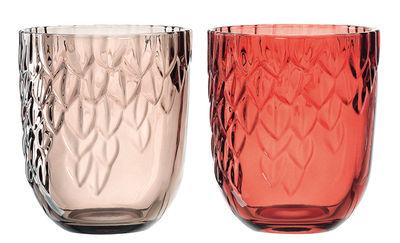 Déco - Bougeoirs, photophores - Photophore Castagna / Set de 2 - Ø 11 x H 13 cm - Leonardo - Rouge & taupe - Verre teinté ciselé