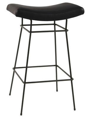 Arredamento - Sgabelli da bar  - Sgabello alto Bienal / H 76 cm - Seduta imbottita cuoio - Objekto - Cuoio nero / Piede nero - Acciaio verniciato riciclato, Espanso, Pelle pieno fiore