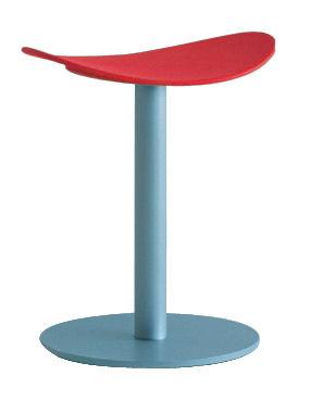Arredamento - Sgabelli - Sgabello Coma - h  48 cm di Enea - Rosso - Grigio alluminio - Acciaio laccato, Polipropilene