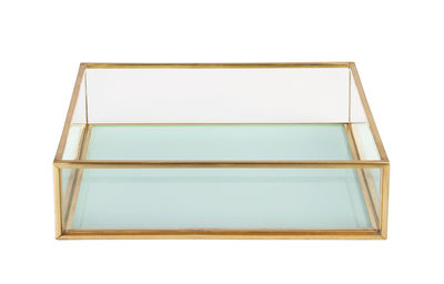 Decoration - Decorative Boxes - Small dish - / 16 x 16 cm by & klevering - Square / Sky blue - Brass finish metal, Glass
