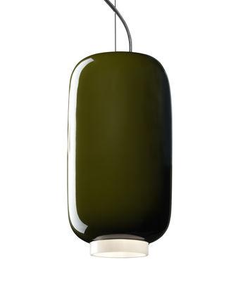 Illuminazione - Lampadari - Sospensione Chouchin Mini n°2 - / Ø 12 x H 24 cm di Foscarini - Verde - Vetro soffiato a bocca