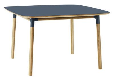 Furniture - Dining Tables - Form Square table - 120 x 120 cm by Normann Copenhagen - Blue / oak - Linoleum, Oak, Polypropylene