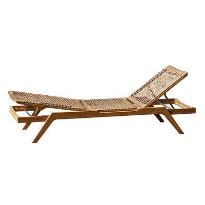 Outdoor - Sun Loungers & Hammocks - Synthesis Sun lounger - / Teak & rope - Multiposition by Unopiu - Teak & natural / Ecru white cushion - Acrylic fabric, Teak, Waprolace synthetic fibre