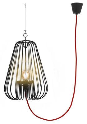 Suspension Big Light Cage H 80 cm - La Corbeille rouge,noir en métal