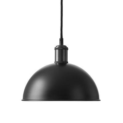 Luminaire - Suspensions - Suspension Hubert / Ø 24 x H 16 cm - Menu - Noir / Intérieur blanc - Acier peint