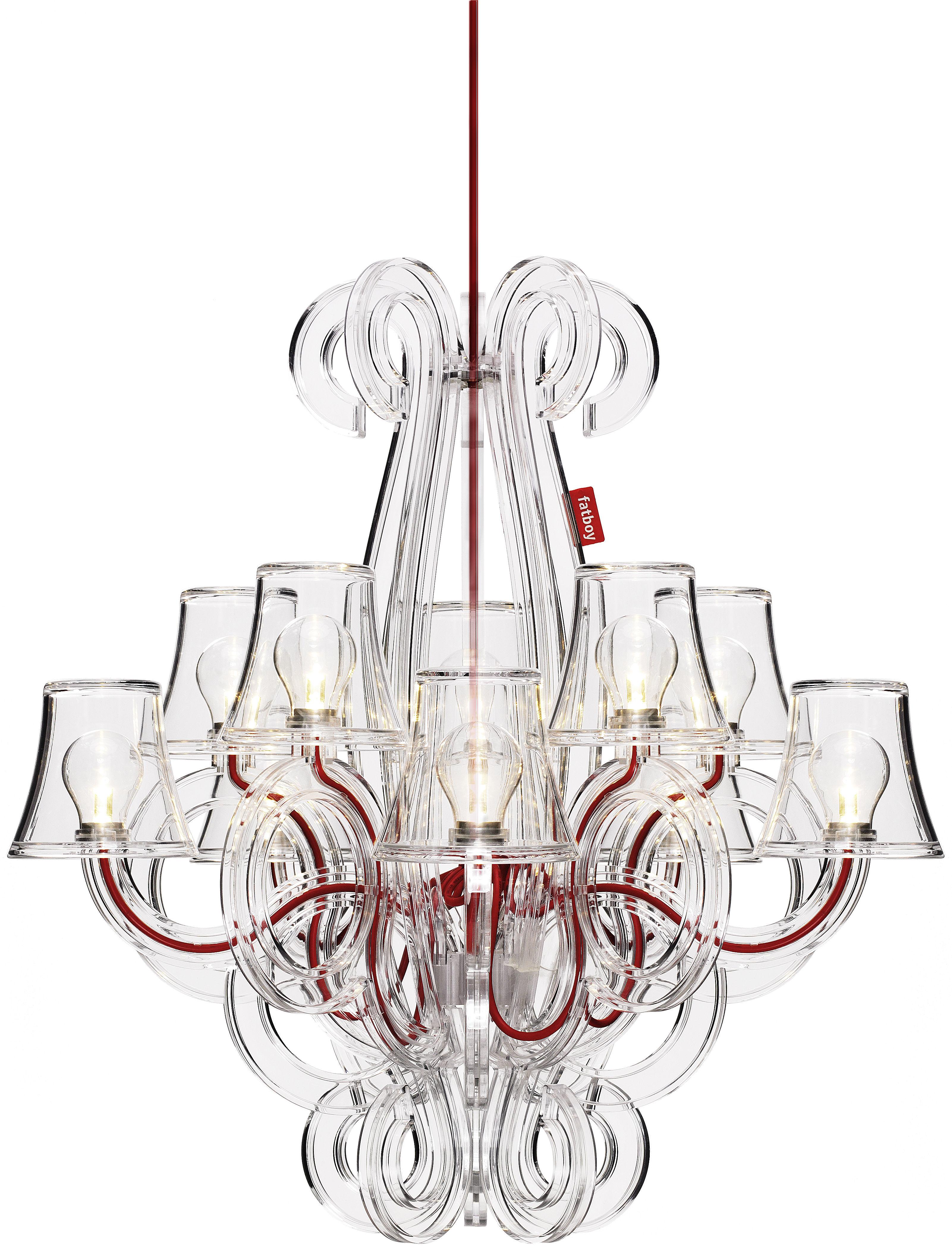 Luminaire - Suspensions - Suspension RockCoco / Ø 68 cm - 10 ampoules fournies - Fatboy - Transparent / Câble rouge - Polycarbonate