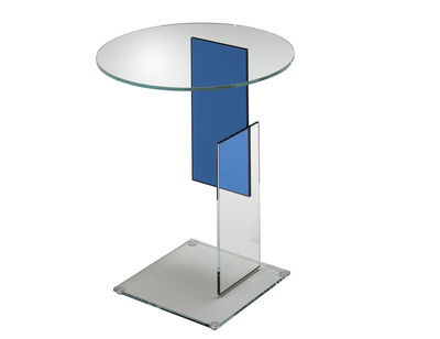 Table basse Don Gerrit - Glas Italia bleu,transparent en verre