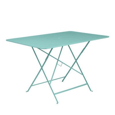 Jardin - Tables de jardin - Table pliante Bistro / 117 x 77 cm - 6 personnes - Trou parasol - Fermob - Bleu lagune - Acier peint