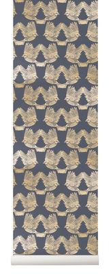Dekoration - Stickers und Tapeten - Birds Tapete / 1 Bahn - B 53 cm - Ferm Living - Dunkelblau & goldfarben - Vliestapete