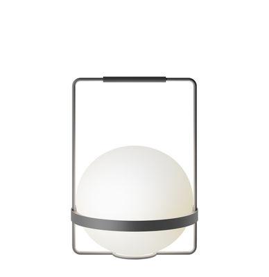 Leuchten - Tischleuchten - Palma Tischleuchte / mit Griff - Vibia - Graphitgrau lackiert (matt) - Aluminium, Verre soufflé opalin