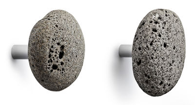 Arredamento - Appendiabiti  - Appendiabiti Stone - / Set da 2 - Pietra naturale di Normann Copenhagen - Grigio - Acciaio inossidabile, Pietra