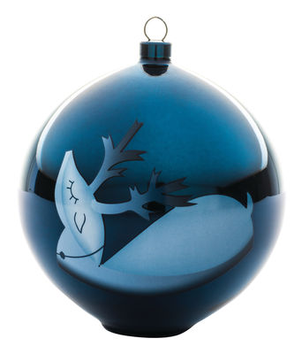 Decoration - Home Accessories - Blue christmas Bauble - / Blown glass by A di Alessi - Reindeer - Hand-decorated blown glass