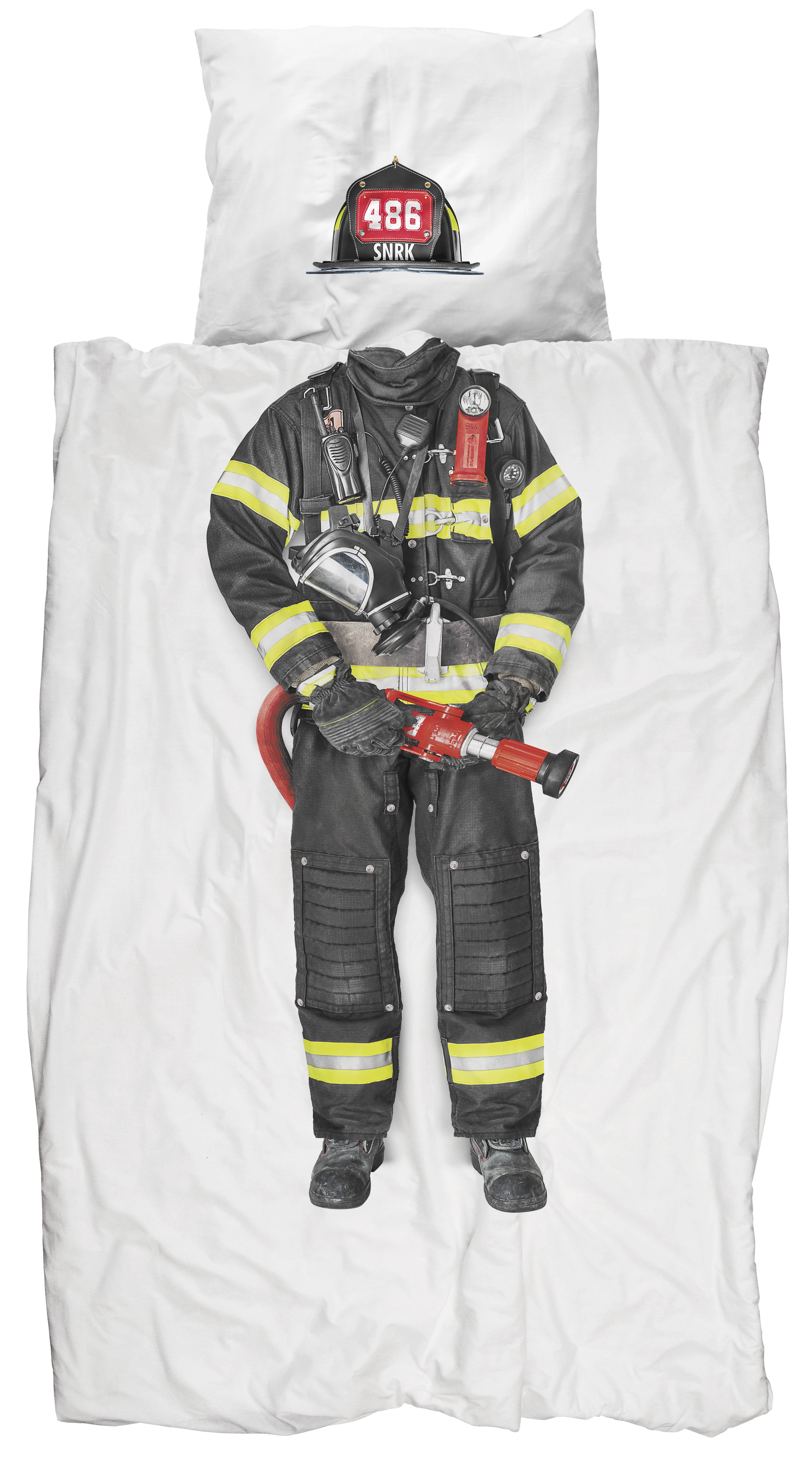 Decoration - Bedding & Bath Towels - Firefighter Bedlinen set for 1 person - 135 x 200 cm by Snurk - Firefighter - Cotton percale