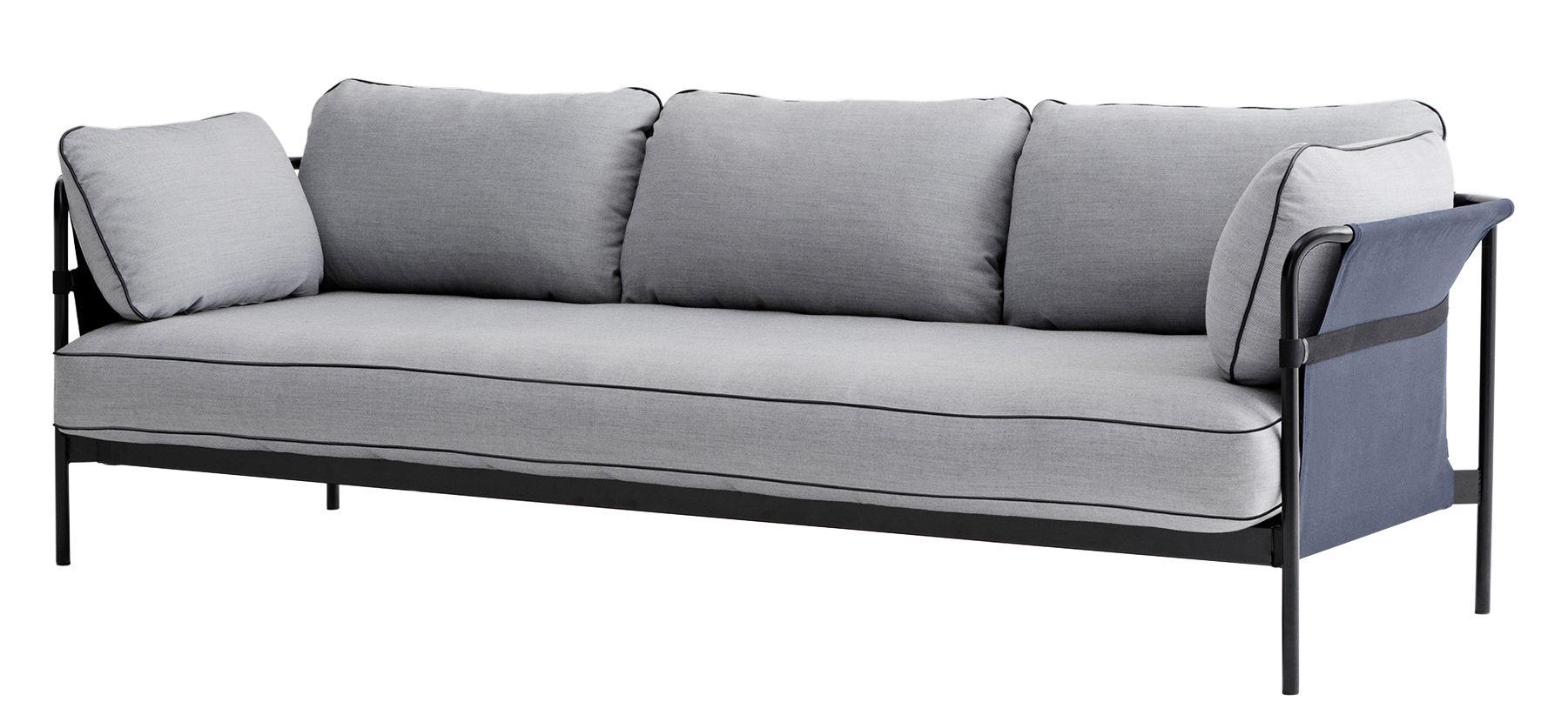 canap droit can 3 places structure noire gris clair. Black Bedroom Furniture Sets. Home Design Ideas
