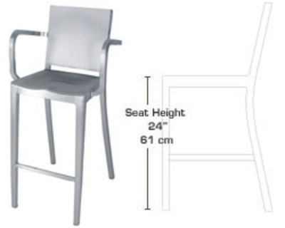 Mobilier - Tabourets de bar - Chaise de bar Hudson Outdoor / Accoudoirs - Alu brossé - H 61 cm - Emeco - Alu brossé (outdoor) - Aluminium brossé recyclé