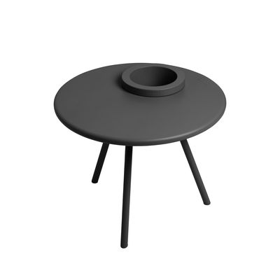 Furniture - Coffee Tables - Bakkes Coffee table - / Ø 60 cm - Integrated flowerpot / Steel by Fatboy - Charcoal grey - Polythene, Steel