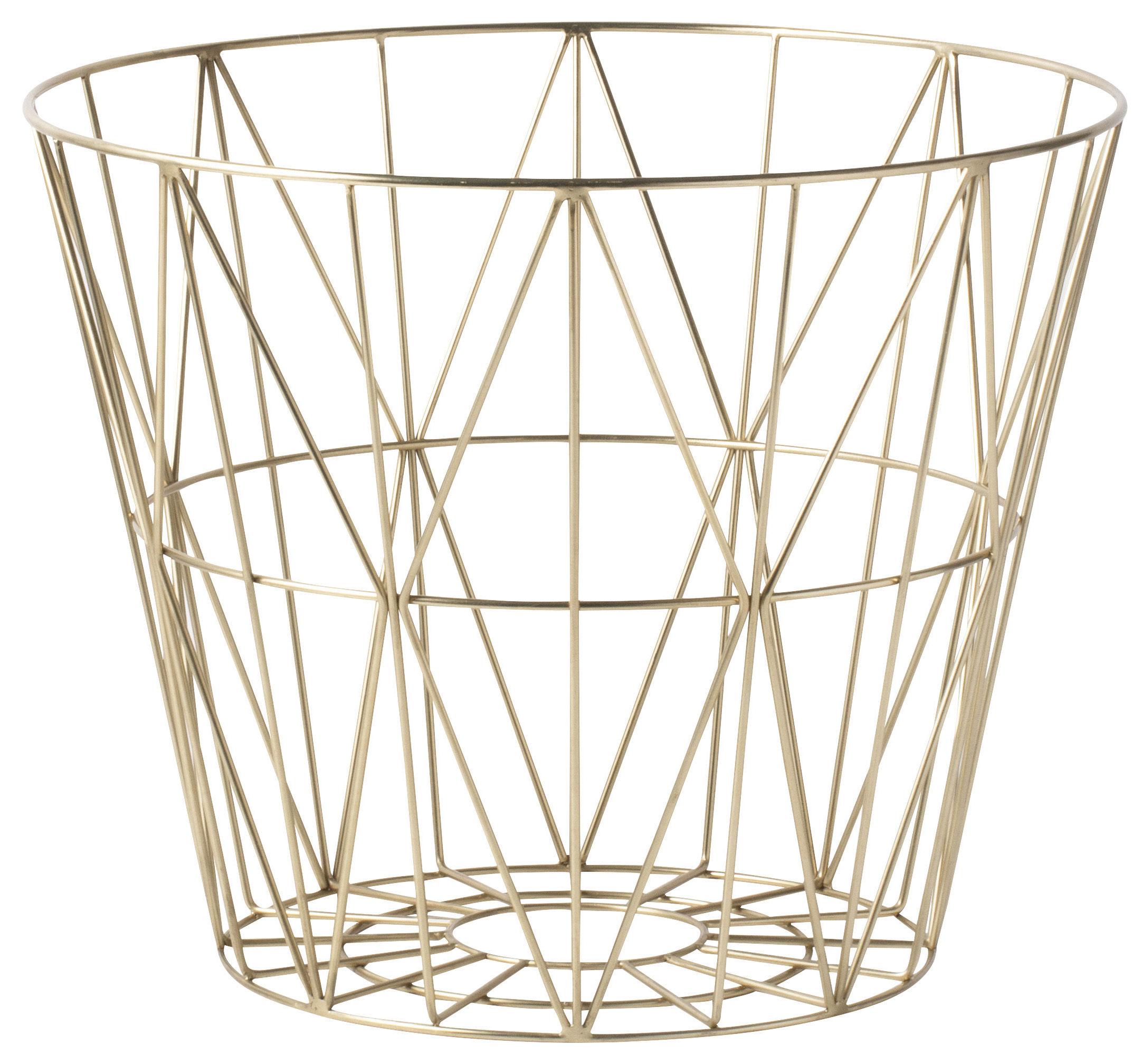 Déco - Corbeilles, centres de table, vide-poches - Corbeille Wire Large / Ø 60 x H 45 cm - Ferm Living - Laiton - Métal plaqué laiton
