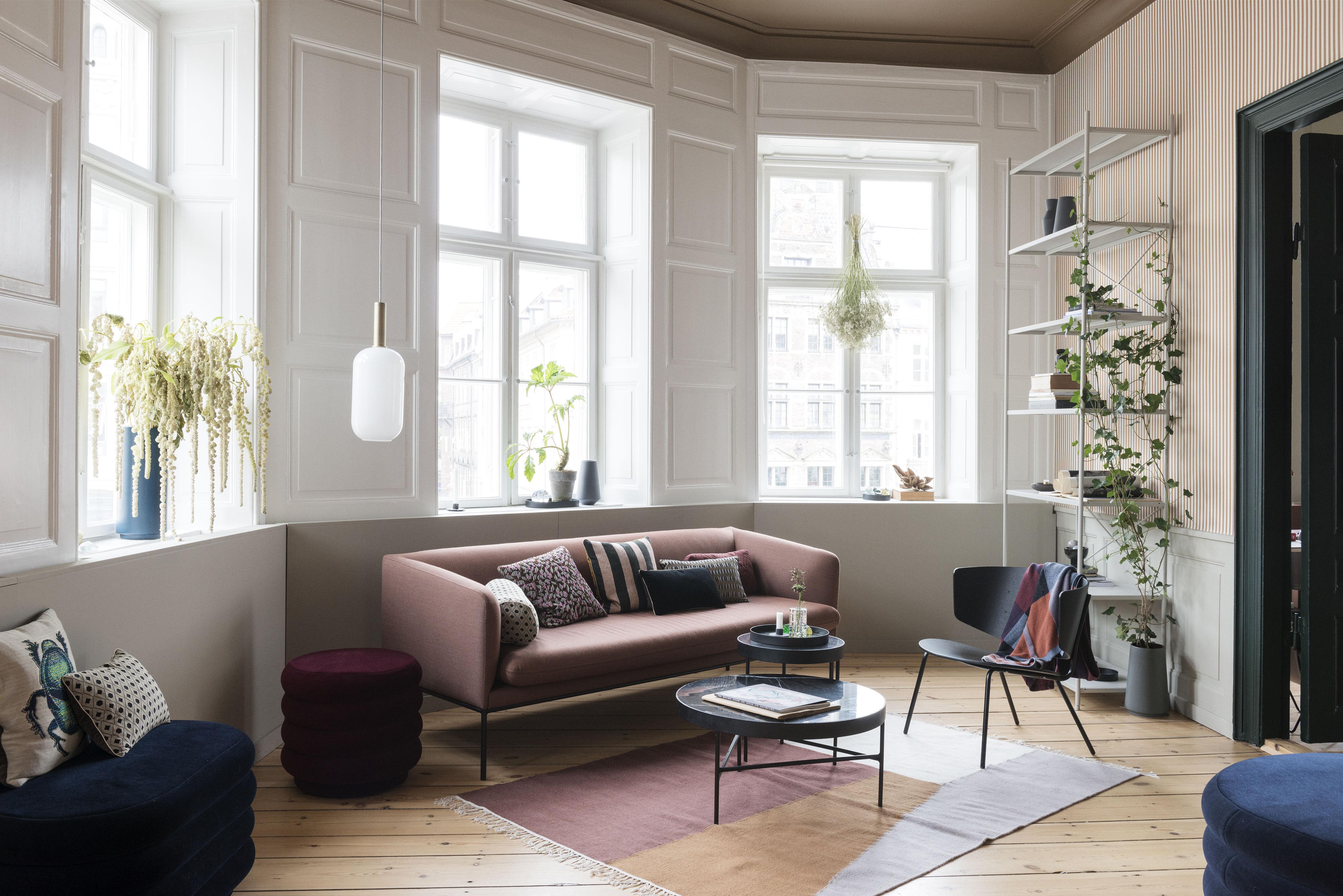 coussin salon - scarabée ferm living - blanc & vert / papillon