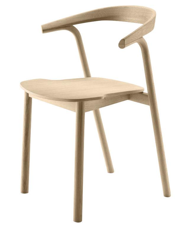 Mobilier - Chaises, fauteuils de salle à manger - Fauteuil empilable Makil / Bois - Alki - Chêne naturel - Chêne