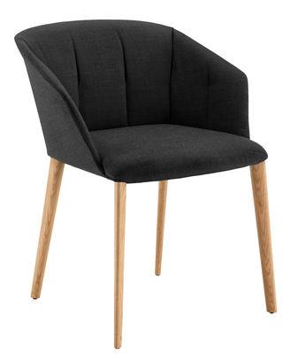 Möbel - Stühle  - Liza Gepolsterter Sessel / Stoff & Stuhlbeine aus Holz - Zanotta - Schwarz / Stuhlbeine holzfarben - Gewebe, massive Eiche, Schaumstoff
