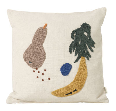 Banane Kissen / mit Stickapplikationen - 40 x 40 cm - Ferm Living - Bunt,Creme