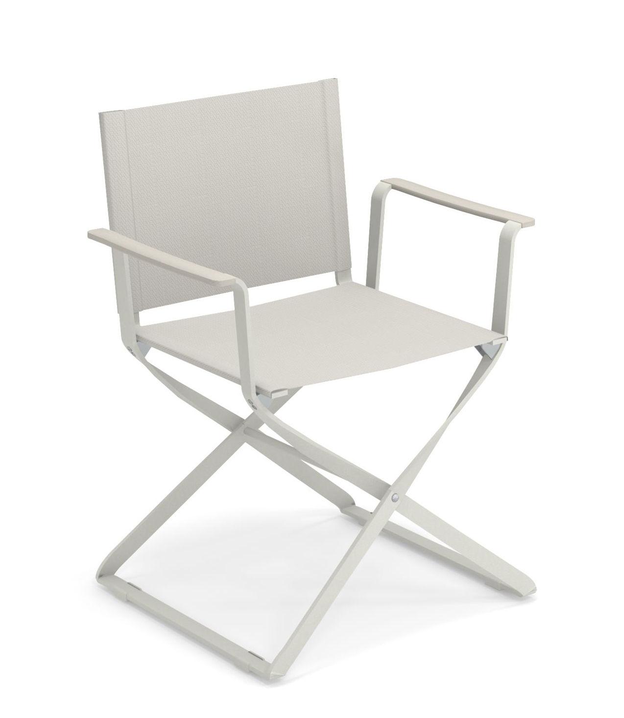 Möbel - Stühle  - Ciak Klappsessel / ABS-Armlehnen - Emu - Weiß - ABS, klarlackbeschichtetes Aluminium, Leinen