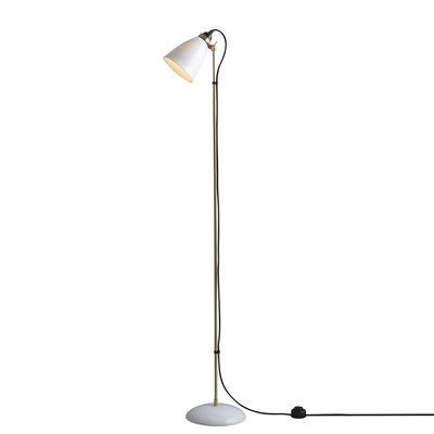 Luminaire - Lampadaires - Lampadaire Hector 30 / H 137 cm - Porcelaine - Original BTC - Blanc / Laiton satiné & câble noir - Laiton, Porcelaine