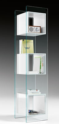 Image of Libreria Magique Totem - / L 38 x H 172 cm di FIAM - Nero/Trasparente - Vetro