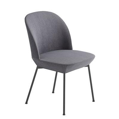 Furniture - Chairs - Oslo Padded chair - / Fabric by Muuto - Grey / Black legs - High density foam, Kvadrat fabric, Painted steel