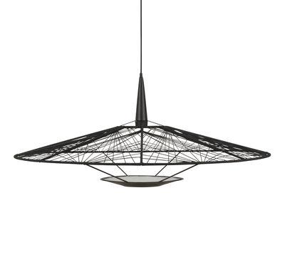 Lighting - Pendant Lighting - Carpa Large Pendant - / Ø 100 cm - Cotton yarn by Forestier - Ø 100 cm /  Black - Fils en coton, Lacquered steel