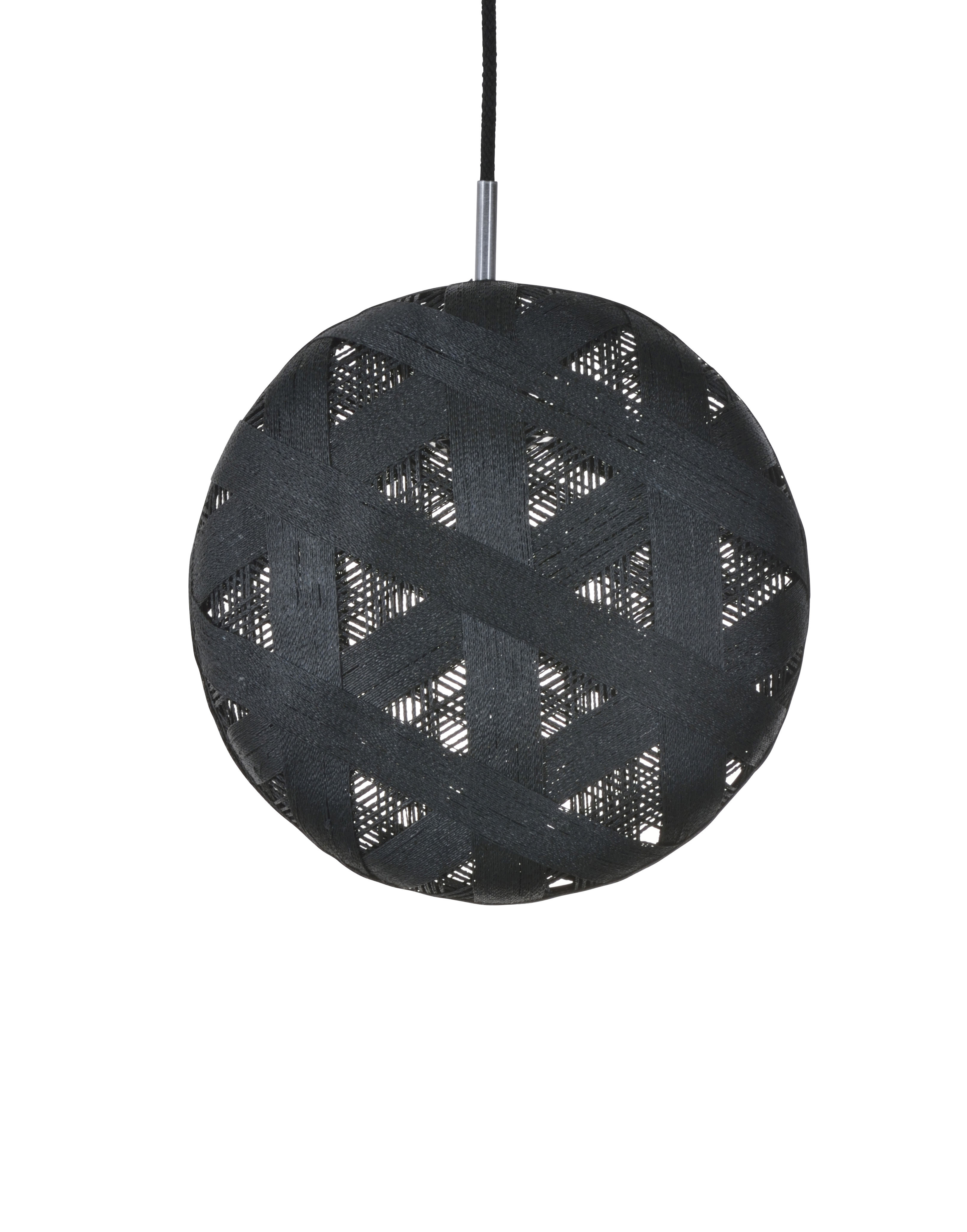 Lighting - Pendant Lighting - Chanpen Hexagon Pendant - Ø 36 cm by Forestier - Black / Triangle patterns - Woven acaba