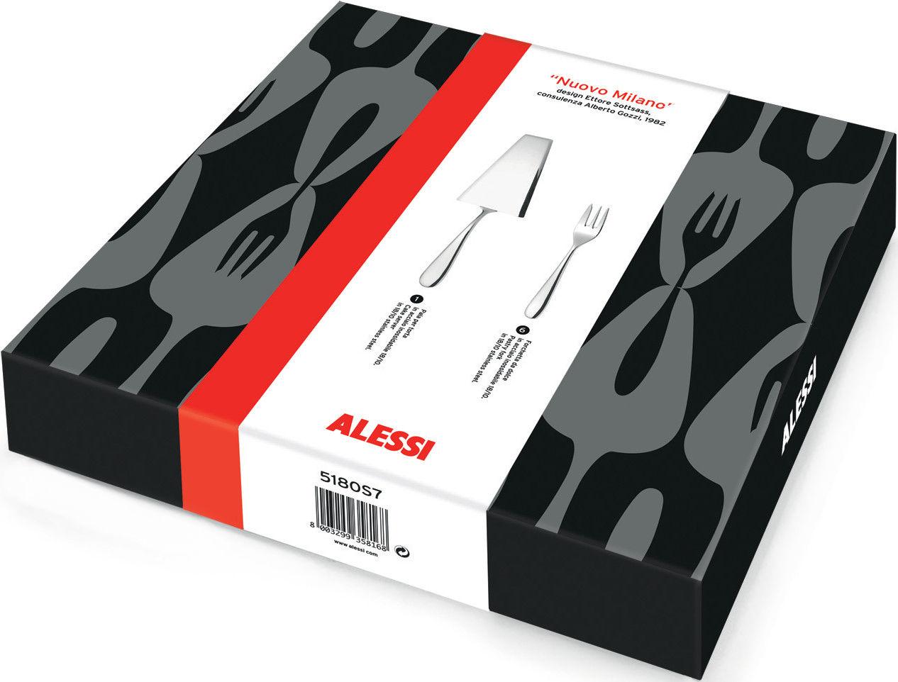 Arts de la table - Couverts de table - Set de couverts Nuovo Milano / Pelle à tarte + 6 fourchettes à gateaux - Alessi - Acier poli - Acier inoxydable poli
