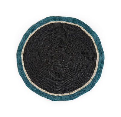 Set de table Globe / Raphia tressé main - Maison Sarah Lavoine noir,bleu sarah en fibre végétale