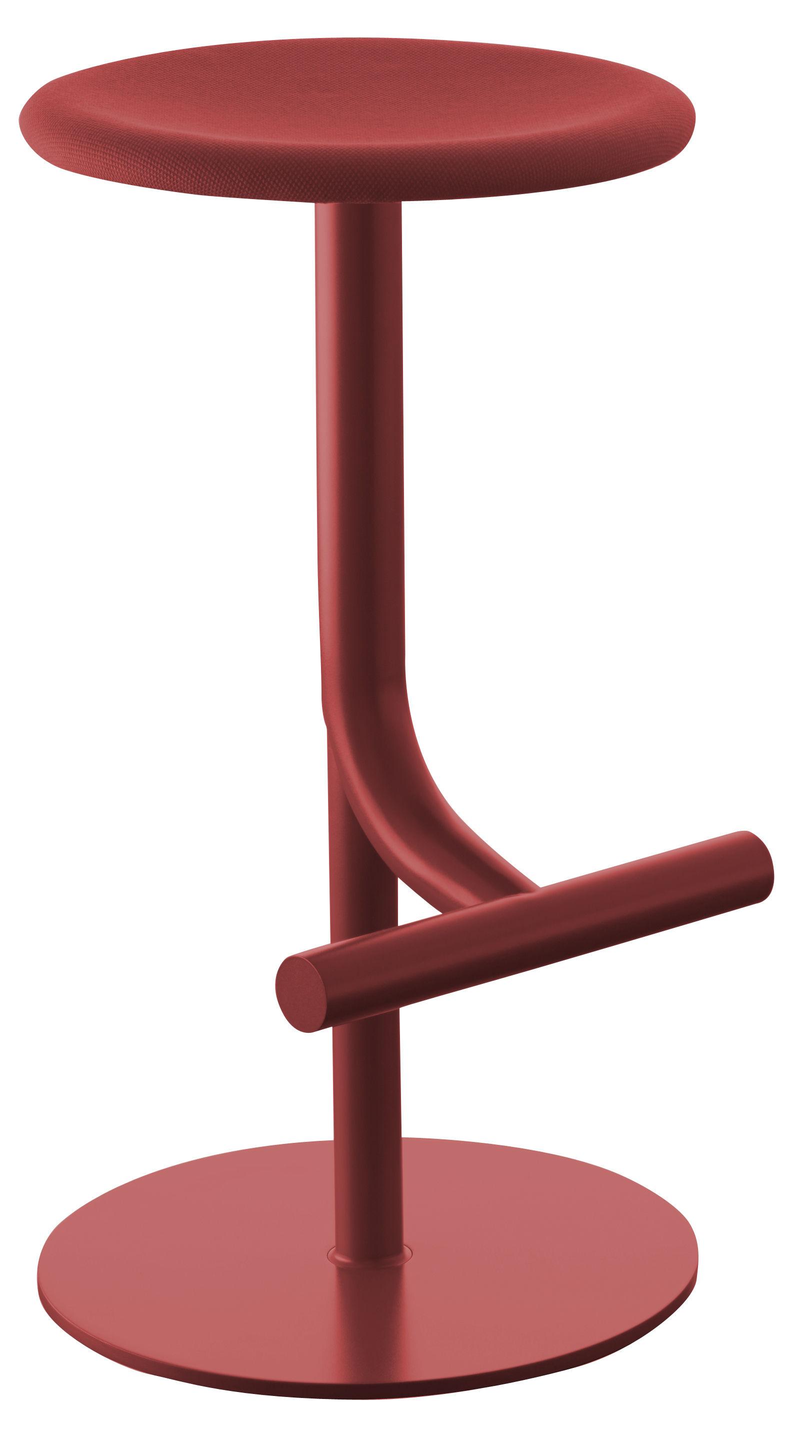 Arredamento - Sgabelli da bar  - Sgabello alto regolabile Tibu - /Altezza regolabile da 60 a 77 cm - Seduta in tessuto di Magis - Rosso scuro - Acciaio verniciato, Tessuto Kvadrat