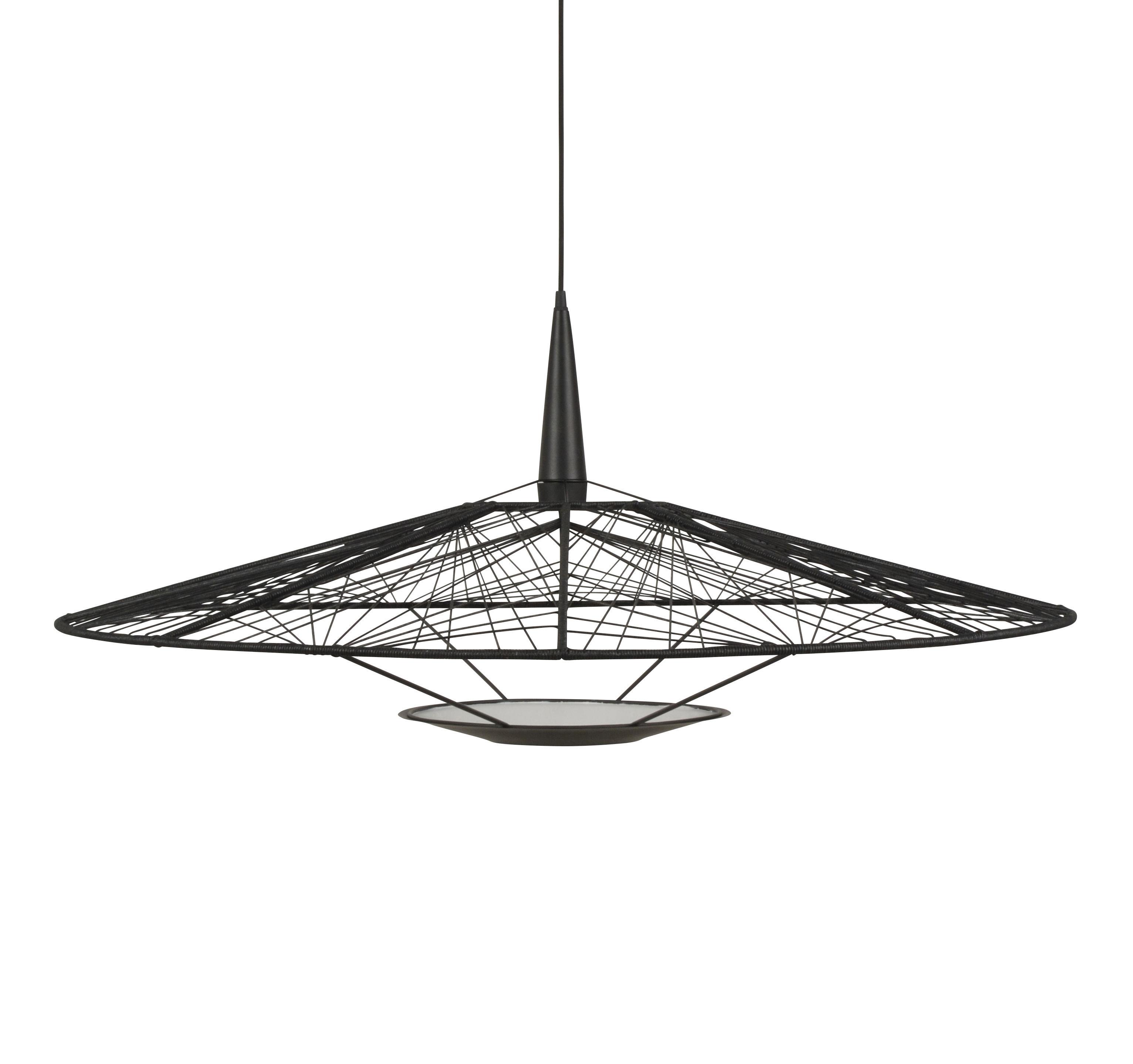Illuminazione - Lampadari - Sospensione Carpa Large - / Ø 100 cm - Fili di cotone di Forestier - Ø 100 cm cm / Nero - Acciaio laccato, Fils en coton