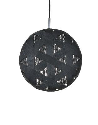 Illuminazione - Lampadari - Sospensione Chanpen Hexagon - / Ø 36 cm di Forestier - Nero / Motivo triangoli - Tessuto in abaca